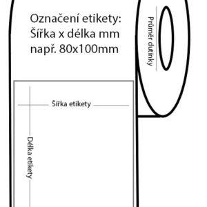Etikety papírové bílé 50×145 mm, 500 ks na roli