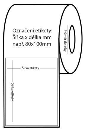 Etikety papírové bílé 80×50 mm, 1000 ks na roli