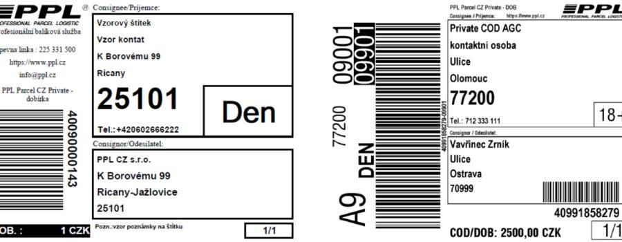 Tisk etiket pro dopravce na TTR tiskárně